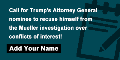 Call for Trump's Attorney General nominee to recuse himself from the Mueller investigation over conflicts of interest